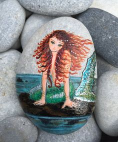 Mermaid painted rock paper weight by ProfBella on Etsy