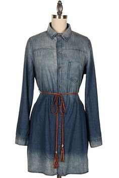 BUTTON DOWN WASHED DENIM SHIRT DRESS W/ TIED WAIST.  #12Z-D0084
