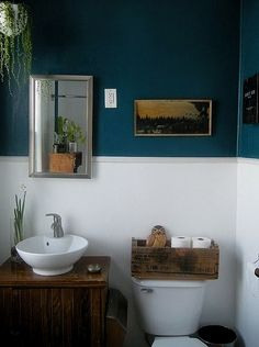 A gallery of 56 small bathroom ideas and bathroom renovations based on expert opinions. These small bathroom ideas will encourage you to stunning bathroom. Bad Inspiration, Bathroom Inspiration, Small Space Bathroom, Small Spaces, Narrow Bathroom, Dark Blue Bathrooms, White Bathroom, Bathroom Wall, Downstairs Bathroom