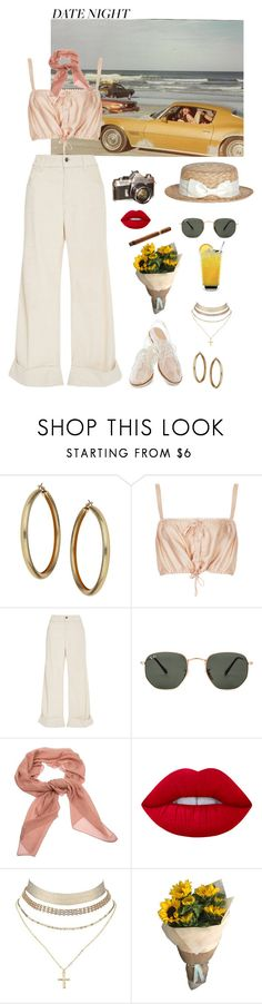 """""""Summer Date"""" by gcview ❤ liked on Polyvore featuring Topshop, The Seafarer, Rachel Antonoff, Ray-Ban, Salvatore Ferragamo, Lime Crime, Charlotte Russe and summerdatenight"""