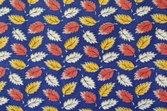 Vintage 1970s fabric in highquality unused cotton/ synthetic with printed white/ red/ yellow leafe pattern on dark blue bottomcolor