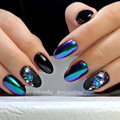 Best Chrome Beetle Design Nails 2018 - Education and lifestyle Black Chrome Nails, Black And Blue Nails, Irridescent Nails, Nail Art Designs, Funky Nail Designs, Nails 2018, Metallic Nails, Funky Nails, Manicure E Pedicure