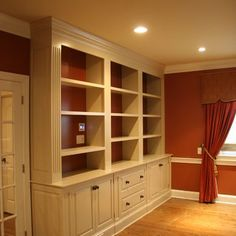 All the way to the top of the ceiling! Home Office Bookshelves Design, Pictures, Remodel, Decor and Ideas