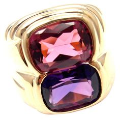 Bulgari Pink Tourmaline Amethyst Gold Ring | From a unique collection of vintage cocktail rings at https://www.1stdibs.com/jewelry/rings/cocktail-rings/