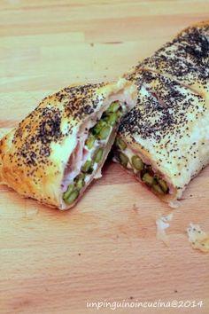 Un pinguino in cucina: Strudel di asparagi, prosciutto cotto e stracchino - Asparagus, Ham and Cream Cheese Strudel