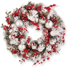 Holy night, in red and white! The National Tree Company 24 in. Frosted Christmas Wreath with Red Berries and White Ornaments gets into the spirit. Artificial Christmas Wreaths, Christmas Wreaths To Make, Holiday Wreaths, Christmas Crafts, Christmas Decorations, Christmas Ornaments, Christmas Store, Holiday Gifts, Christmas Greenery