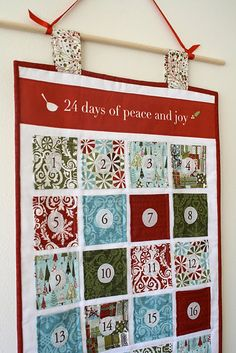 Fabric Advent Calendar Wall Hanging - A Tutorial (more work but looks much nicer)