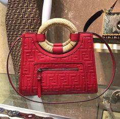 aa1b83f7c1cd7e Fendi Runaway Small Shopper Tote Bag With Woven Rattan Handles Red 2018  Fendi Peekaboo Bag
