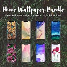 Watercolor Wallpaper for Smartphone | iPhone Wallpaper | Samsung Wallpaper | Two Watercolor Artwork Images | Instant Download