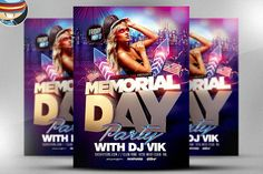 Memorial Day Party Flyer Template by FlyerHeroes on @creativemarket
