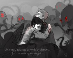 The quote is from The Girl in the Fireplace episode of Doctor Who, The pairing is Destiel of Supernatural <3