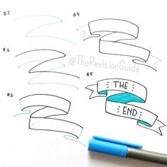 """""""How to draw banners… add these to your notes and yo… – Zeichnung , Kritzeleien und mehr Doodle Drawings, Doodle Art, Zentangle, Doodle Lettering, Calligraphy Doodles, How To Write Calligraphy, Sketch Notes, Bullet Journal Inspiration, Journal Ideas"""