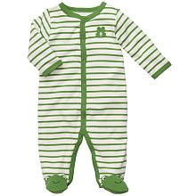 Carter's Boys Embroidered Striped Frog Footie with Applique and Foot Art