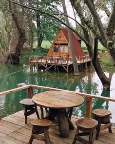 I owe myself a visit to this place. Looks like a swamp hobbit house. Would you stay here+? A Frame Cabin, A Frame House, Tree House Designs, Tiny House Design, Cool Tree Houses, Beautiful Tree Houses, Bamboo House, Cabin In The Woods, Tiny House Cabin