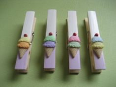 clay inspiration - ice cream decorated clothespins white & lilac. $5.00, via Etsy.