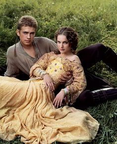 THE STAR-CROSSED LOVERS  Hayden Christensen as Anakin Skywalker and Natalie Portman as Amidala adopt their Attack of the Clones personas by Annie Leibovitz for Vanity Fair March 2002