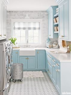 HGTV decor darling Jillian Harris takes some design chances in her laundry room – and isn't looking back. HGTV decor darling Jillian Harris takes some design chances in her laundry room – and isn't looking back. Laundry Room Organization, Laundry Room Design, Laundry Decor, Bathroom Storage, Blue Laundry Rooms, Small Laundry, Laundry Room Floors, Laundry In Kitchen, Laundry Bin