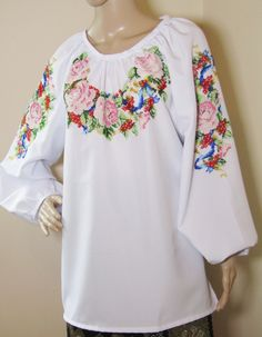 Handmade Romanian ethnic top Peasant Blouse, Silk Thread, Pink Roses, Ethnic, Bell Sleeve Top, Cold Shoulder Dress, Blouses, Pure Products, Beads