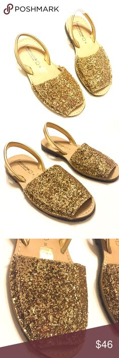 Menorquinas Gold Glitter Sandals from Spain SZ 6 Very cool gold glitter sandals from Spain .  Excellent condition.  Size 36 EU.  Size 6 US Menorquinas Shoes Sandals
