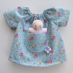 blue roses, Waldorf doll dress, 12 inch clothing, for handmade natural dolls, Steiner toy, germandolls, gift for girls