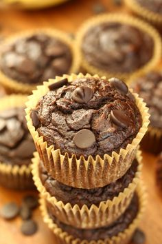 Rich, soft, and moist Chocolate Chocolate Chip Banana Muffins that are gluten free, grain free, dairy free, Paleo and nut free.