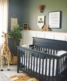 Project Nursery - Loving how our Autumn Convertible Crib is styled in this safari nursery! Jungle Nursery Boy, Woodland Nursery Boy, Safari Theme Nursery, Boy Nursery Themes, Giraffe Nursery, Black Crib Nursery, Nursery Ideas, Black Nursery Furniture, Newborn Nursery