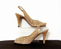 1980s High Heels / Vintage 80s Camel Tan Suede by LookAgainVintage