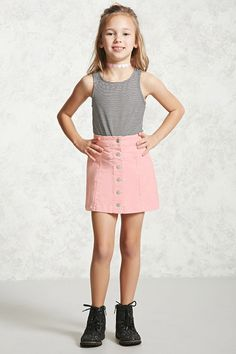 Forever 21 Girls - A knit corduroy skirt featuring a button up front and princess seams with other style lines. Young Girl Fashion, Girls Fashion Clothes, Tween Fashion, Fashion Outfits, Kids Outfits Girls, Cute Girl Outfits, Cute Outfits For Kids, Birthday Outfit For Teens, Forever 21 Girls