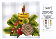 Christmas Card design in counted cross stitch Candles in Pine Mantle display