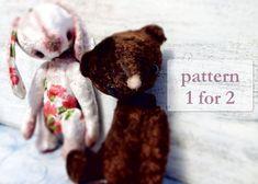 1 PATTERN for 2 artist bear teddy bear & bunny, 10 inches