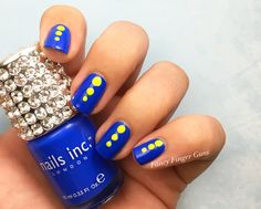 Cobalt blue + neon yellow is one of my favorite color combinations! This is Nails Inc's Baker Street and Essie's In The Limelight.