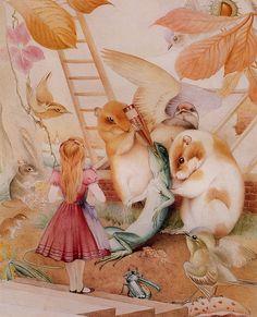 "Edward Julius Detmold (1883-1957), ""Alice in Wonderland with Peter the Lizard"""