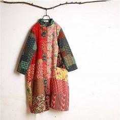 Women winter retro style cardigan cotton linen Overcoat - Buykud