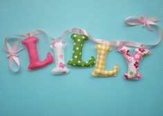 Customized name banner, Fouchsia - Yellow - Green fabric letters, girls room decor, hanging letters, made to order Nursery Banner, Nursery Name, Nursery Themes, Fabric Letters, Fabric Names, Hanging Letters, Cloud Pillow, Name Banners, Newborn Baby Gifts