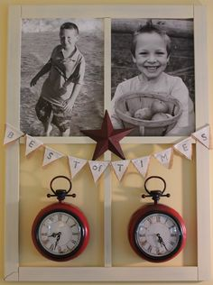 """Old window frame with black & white photos, clocks set to time of birth and tiny burlap banner saying """"Best of Times"""""""
