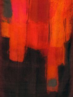 Hand painted scarf. Woman fashion scarf in fire red, orange and brown. Abstract painting on silk by Dimo.
