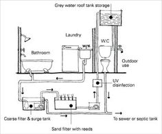 A diagram of a wastewater reuse system showing greywater feeding out of the bathroom and laundry, being filtered by a coarse filter and surge tank, then through a sand filter with reeds. The greywater then undergoes UV disinfection before being stored in a roof tank for further use in the toilet or outdoors. Excess greywater runs into the sewer or a septic tank.