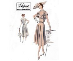 RARE 1950s Dress Pattern Vogue Couturier by allthepreciousthings, $175.00
