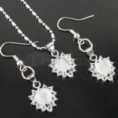White diamond necklace set chain