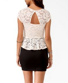 Duo-Toned Lace Peplum Dress | FOREVER 21 - 2025945528