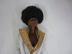 1979-Mattel-1973-BLACK-Barbie-Doll-Wearing-Designer-Originals-1957-GOLDEN-ACCENT