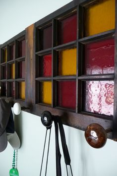 old stained glass window, repurposed. So cool!