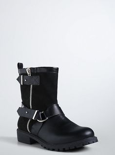 Double Strap Moto Boots (Wide Width), BLACK