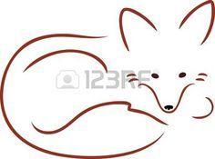 Une image de contour d un renard rouge mignon recroquevill et de repos Banque d'images