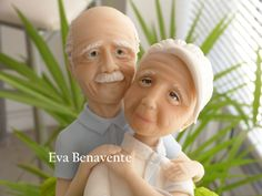 Old Couple for a Birthday Cake by Eva Benavente (ecakes) - Fondant Figures Tutorial, Fondant Toppers, Fondant Cakes, Vieux Couples, Old Couples, Polymer Clay Figures, Polymer Clay Dolls, Clay Art Projects, Clay Crafts