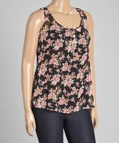 Another great find on #zulily! Black & Pink Floral Tank - Plus #zulilyfinds