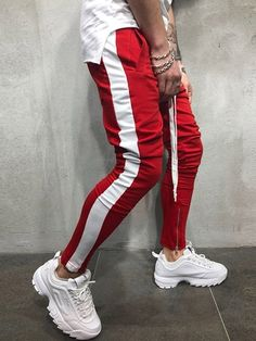 Men's Side Stripe Ankle Zip Drawstring Trackpants 2018 New Autumn Fashion Hip Hop Men Contrast Jogger Sweatpant Pantalon Hombre Pantalon Streetwear, Streetwear Men, Sweatpants Style, Mens Sweatpants, Jogger Sweatpants, Men With Street Style, Men Street, Street Wear, Trendy Outfits