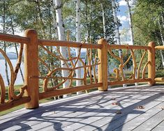 Nice variation upon the old vertical uprights on deck railing...great for a mountain retreat cabin.
