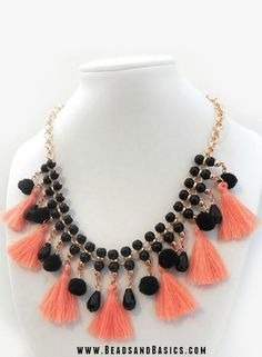 15 Ways to Use Pompoms in Jewelry - Black and Rose gold statement necklace with tassels Rose Gold Statement Necklace, Dainty Diamond Necklace, Statement Necklaces, Gold Necklace, Tassel Jewelry, Beaded Jewelry, Jewelery, Teardrop Necklace, Lariat Necklace