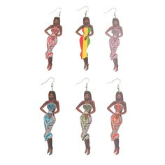 Wooden Black Woman wearing a Strapless Dress Drop Fashion Earrings. These are very unique and stylish. Earrings measure approximately 1 inch wide and inches long. Fashion Earrings, Women's Earrings, Fashion Jewelry, Wooden Earrings, African American Women, Beautiful Earrings, Black Women, Strapless Dress, Women Wear